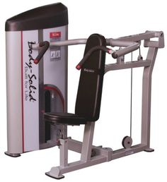 """Body-Solid Pro Clubline Series II Shoulder Press Machine. Standard Weight Stack: 210 lbs - (20) 10 lb. plates and (1) 10 lb. top plate with selector stem. 6 seat pad adjustments for proper starting position with all size users. Extended pivot frame provides proper biomechanics through entire exercise range of military press movement. CenterÐdrive design distributes weight evenly to eliminate torsional flexing of resistance arm and frame. Assembled Dimensions: 55"""" W x 51"""" L x 57"""" H."""