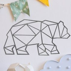 Bungalow Rose This wall décor is made of sanded steel and has sharp edges. It is crafted in the USA. Geometric Bear, Geometric Shapes, Bear Silhouette, Polygon Art, Baby Tattoos, Animal Sketches, Wire Crafts, Chalk Art, Wire Art