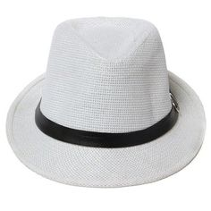Unisex Solid Braid Fedora Trilby Gangster Cap Buckle Beach Sun Straw... ($6.16) ❤ liked on Polyvore featuring accessories, hats, straw fedora, crown cap, fedora trilby hat, cap hats and panama straw hat