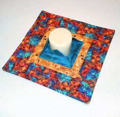 Southwest Quilted Candle Mat  Teal & Gold Large by CactusPenguin