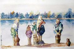 Getting water from the river, watercolour by Vanessa Azevedo
