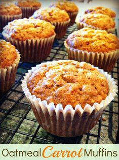 This Oatmeal Carrot Muffins recipe is packed with oats, carrots and applesauce, which make it a great option for a nutritious breakfast on the go! Muffin Tin Recipes, Healthy Muffin Recipes, Healthy Muffins, Snack Recipes, Healthy Foods, Healthy Cupcakes, Healthy Sweets, Paleo Recipes, Bread Recipes