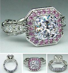 vintageengagementring pink sapphire halo