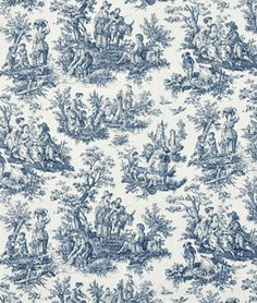 "Waverly Rustic Toile Navy Fabric 100% cotton, 54"", 15,000 double rubs"