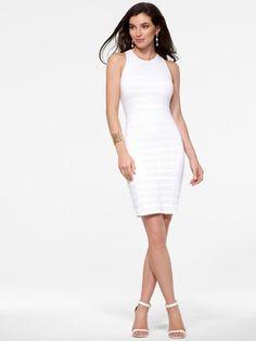 White Crochet Halter Sheath Dress #CacheStyle