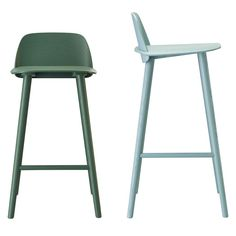 Scandinavian-inspired barstools are pre fabricated painted wood with tall legs, a short back, and clean lines.