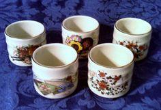 Vintage Set of 5 Japanese Porcelain Tea Cups by AnchorLineVintage