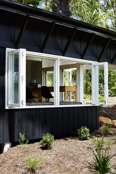 Vokes and Peters has converted this timber holiday home in Queensland into a permanent residence for a semi-retired couple by adding an angular extension Weatherboard House, Queenslander, Sunshine Coast, Retro Beach House, Black House Exterior, Beach Shack, Surf Shack, Small Buildings, House Goals