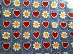crochet pattern Baby, toddler, child blanket, afghan ''Daisies and Sweethearts' Granny Square folk art style