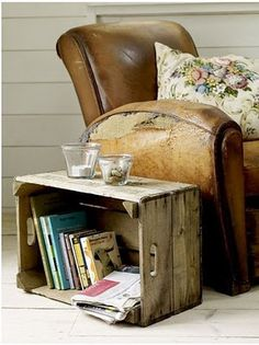 worn leather chair - vintage crate = fabulous