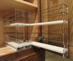 Spice Rack Drawer Cream is part of High cabinet Spice Racks - Organize cabinet spices or other small kitchen items in this slim multilevel organizer rack from Vertical Spice This clearview rack has 3 slide out drawers Spice Rack Vertical, Spice Rack Drawer Insert, Cabinet Spice Rack, Spice Drawer, Spice Racks For Cabinets, Spice Shelf, Cabinet Storage, Best Spice Rack, Pull Out Spice Rack