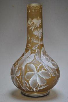 Large 19thC Thomas Webb Glass Enamel Irridescent Vase Christopher Dresser Cameo from the United kingdom   eBay