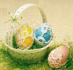 W162 Crochet PATTERN ONLY 3 Lacy Easter Egg Cover Patterns #originalbookmagpages