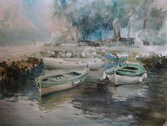 Лодки. Черногория. Акварель.Художник: Лана Тёмина. #акварель #пейзаж #черногория #лодки
