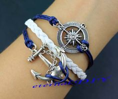 Compass bracelet and anchor bracelet wax rope navy by eternalDIY, $3.59
