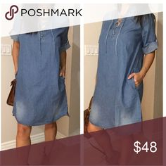 """New Arrivals ‼️Faded denim lace up shirt dress Brand New , so Chic in this Faded denim lace up shirt dress with rolled up sleeves and hidden side pockets , Can be dress to work or casual pair with booties /sandals . True to size Loose fit and relaxing .  100% Cotton , No Trades, Bundle for 10% Discount .  Model is wearing size Small 5'3"""". Dresses Midi"""