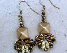 Beaded Pyramid Bead Gold Earrings