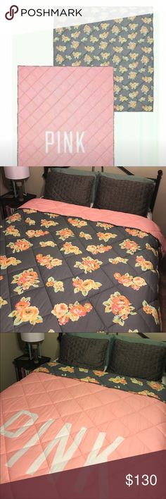 EUC 🦄 VS pink Reversible floral comforter This comforter is an excellent used condition and is hard to find it is reversible with floral on one side and light pink with white lettering on the other this is perfect for any collector Twin size PINK Victoria's Secret Other