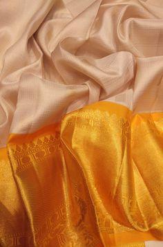 Off White Handloom Kanjeevaram Pure Silk Saree  #kanjeevaramsaree#