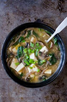 Miso Soba Noodle Soup: Used this recipe as a guide. Made it with what we had on hand. My tweak: Miso Paste from miso soup packets Braggs instead of Soy Sauce Yellow onion instead of green Firm Tofu, unpressed bc I'm not cool like that 1 can chicken broth Healthy Soup Recipes, Vegetarian Recipes, Cooking Recipes, Firm Tofu Recipes, Soba Soup, Tofu Miso Soup, Quinoa Soup, Soup And Salad, Mexican Food Recipes