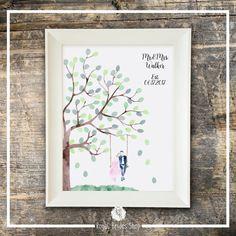 Wedding Guest Book Watercolor Fingerprint Guest Book - Tree Swing Wedding Couple - Guest Book And Ink Pad Fingerprint Tree Wedding Tree Book
