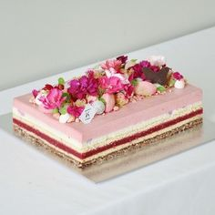 Raspberry, Lychee & Rose Opera Cake