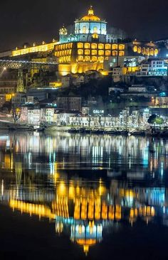 Vila Nova de Gaia (Monte da Virgem) in front of Ribeira - Rio Douro - Porto - Portugal - f. Douro Portugal, Visit Portugal, Spain And Portugal, Portugal Travel, Portugal Vacation, Places To Travel, Places To See, Places Around The World, Around The Worlds