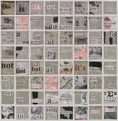 This kinda reminds me of Barbra Kruger, in a not so in your face kinda way. Newspaper Collage, Newspaper Crafts, Collage Art, Collages, Word Collage, Collage Ideas, Typography Love, Shadow Photography, High School Art