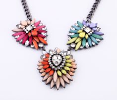 Colorful Alloy Chain Pendant Necklace With Artificial Gemstones - View All - New In