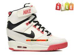 Nike Air Revolution Sky Hi GS Chaussures Montante Nike Pas Cher Pour Femme Blanc/Noir/Rouge 599410-100