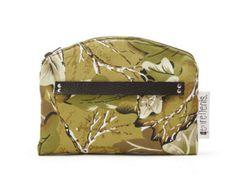 Minimalist fall winter 2016 genreDenis cross-body bag convertible into clutch. Khaki leafy cotton, black leather and black cotton straps