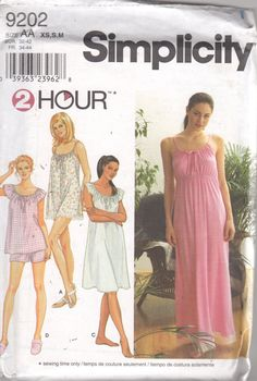 Simplicity 9202 Misses Nightgown Pajamas Pattern EAsY by mbchills