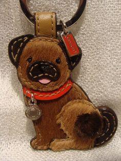 COACH Leather & Mink Pug Key Fob