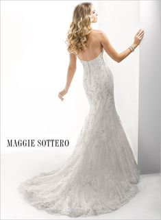 Tamsyn - by Maggie Sottero Wedding Dress Wedding Dresses Wedding gown Wedding gowns Lace vintage mermaid fit and flare elegant lace strapless sweetheart neckline
