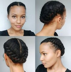 African American Centre-Parted Braided Updo