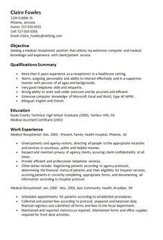 Sample resume objectives for medical receptionist