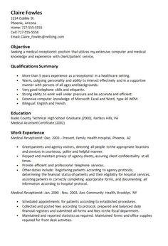 resume for medical receptionist medical receptionist cv template ...