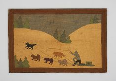 Object Name:Hooked Rug  Maker:Grenfell Mission  Place Made:North America: Canada, Eastern Canada, Newfoundland & Labrador, Grenfell Mission  Period:Early 20th century  Date:c 1926  Dimensions:L 104 cm x W 68 cm  Materials:Burlap; jute  Techniques:Hooked; dyed  ID Number:T78.0006a  Credit:Textile Museum of Canada purchase