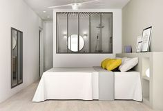 A bath of light, layout villeubanne apartment Design Room, House Design, Interior Design, Basement Bedrooms, Home Bedroom, Bedroom Decor, Ideas Dormitorios, Open Bathroom, Room Divider Curtain