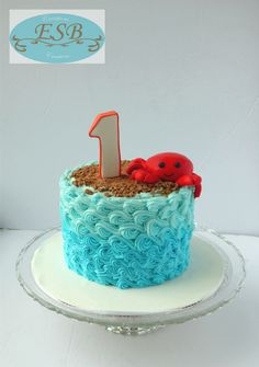 Cute Crab smash cake perfect for a summer or beach themed party Crab Birthday Cakes, Boys First Birthday Cake, Beach Cake Birthday, Birthday Ideas, 7th Birthday, Beach Themed Cakes, Beach Cakes, Beach Cake Smash, Ocean Cakes