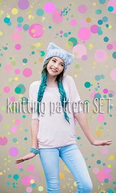Easy Hat & Fingerless Mitts Knitting PATTERN Set  by PattyMacKnits