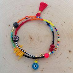 Colorful Beaded wrap Bracelet Friendship by strawberryandlime