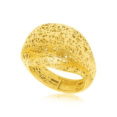 14K Yellow Gold Lace Like Dome Ring