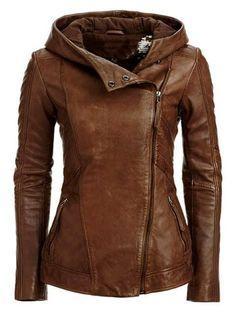 Gorgeous stylish hooded leather jacket fashion