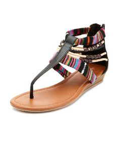 the striped colors mixed with dark brown make a great shoe to wear with bright tops and light denim shorts