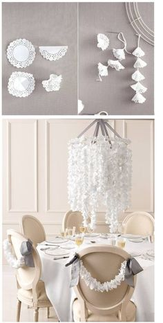 beautiful paper doily craft - easy decor for bridal shower