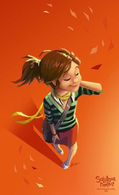 People Illustration, Illustration Girl, Digital Illustration, Simple Character, Craft Images, Orange Art, Girl Falling, Character Design References, Whimsical Art
