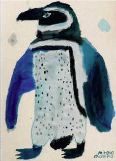 Blue - penguin - painting - miroco machiko
