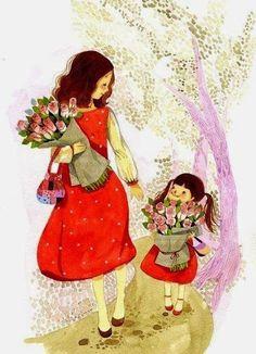 Art - Mother & Child, Mamá e hija Mother Daughter Art, Mother Art, Mother And Child, Love Mom, Mothers Love, Applis Photo, Jolie Photo, Cute Illustration, Cute Cartoon