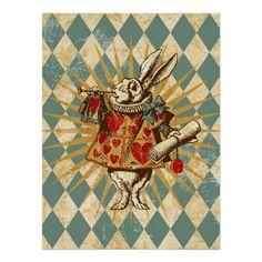 Coelho do branco de Alice do vintage Posters